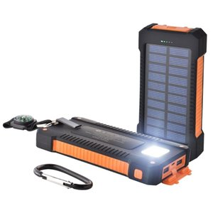Wholesale 10000 mAh Solar Power Bank Charger With LED Flashlight Camping Lamp Double Head Battery Panel Waterproof Outdoor Charging Cell Phone