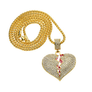 Wholesale broken heart chain resale online - Iced Out Broken Love Heart Pendant Necklaces Charm Silver Gold Plated Chain for Men Women Hip Hop Chain Jewelry Gift
