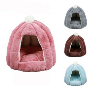 Soft Winter Dog Bed House Windproof Warm Cat Beds Nest Waterproof Bottom Small Dog House Fleece Pet Cave Beds For Dogs 45*45cm