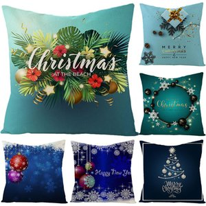Wholesale 40 New Fashion x45cm Merry Christmas Tree Deer Snowflake Bell Star Cushion Cover Pillow Case Home Decor poszewki
