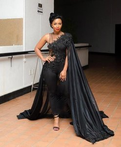 African Black Girl New Evening Dresses 2020 One Shoulder with Wrap Lace Sequin Celebrity Pageant Gowns Custom BC1710 on Sale