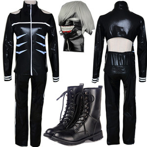 Tokyo Ghoul Cosplay Costumes Kaneki Ken Cosplay Costumes Hoodie Jackets Black Fight Uniform Full Set With Mask