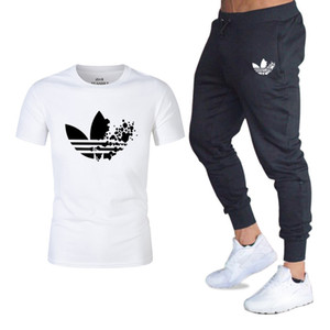 Wholesale Summer Hot Sale Men s Sets T Shirts pants Two Pieces Sets Casual Tracksuit Male Casual Tshirt Gyms Fitness trousers men
