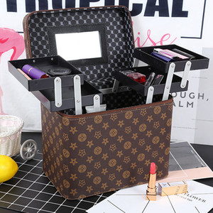 Women Portable Makeup Case Bag Ladies Professional Large Capacity Portable Fashion Cosmetic Storage Travel Bag LJJR913