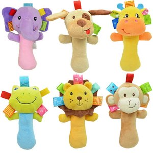 Wholesale Funny Multi styles Lovely Plush Stuffed Animal Baby Rattle Squeaky Sticks Toys Hand Bells for Children Newborn Gift