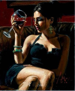 Wholesale Tess IV Red Wine by Fabian Perez Hand Painted HD Print Famous Impressionism Portrait Art Oil Painting On Canvas Home Deco Multi Sizes Fp001
