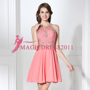 Wholesale Best Selling SD394 In Stock Short Party Gowns Halter Beads Bridesmaid Dress Knee Length Cocktail Dress hours For Shipment