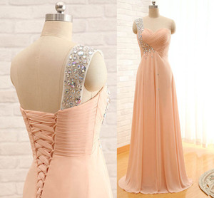Wholesale Chic One Shoulder Peach Prom Dress With Crystal Strap Full Length Chiffon Cheap Bridesmaid Dress Lace Up Special Occasion Dress Evening Wear