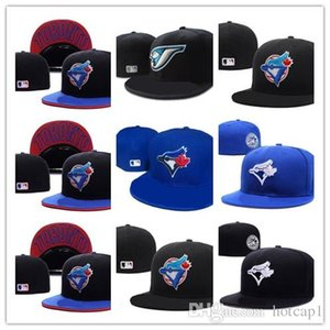 New Hot Men's Toronto Blue Color fitted hat flat Brim embroiered blue jays team logo fans baseball Hat Blue Jays full closed Chapeu bra
