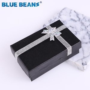 Wholesale 2019New Engagement Ring jewelry organizer shape Black box Earrings Necklace Bracelet Gift Boxes Holder carton bow case Square