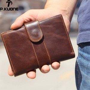 Wholesale 2019 New Genuine Leather Men s Wallet Man Buckle Short Coin Purse Brand Male Retro Wallet Multifunction Small Detachable Wallets
