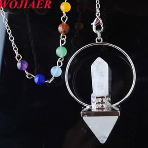 Wholesale crystals for healing resale online - WOJIAER Dowsing Hexagonal Prism Pyramid Pendants Jewelry for Reiki Healing Chakra Natural White Crystal Stone Pendulum DN8156