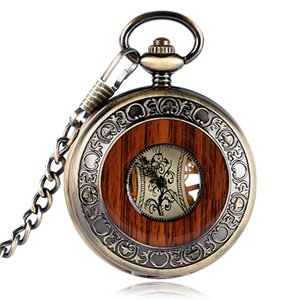 Retro Luxury Wood Circle Skeleton Pocket Watch Men Women Unisex Mechanical Hand-winding Roman numerals Necklace Gift P2012C C19010301