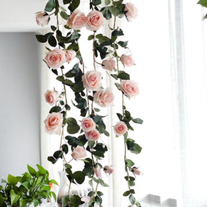 Wholesale pink rose vine resale online - 1 M Artificial Flower Australia Vine Silk Rose Pink White Red Flower for Wedding Decoration Artificial Vines Hanging Garland Home Decor
