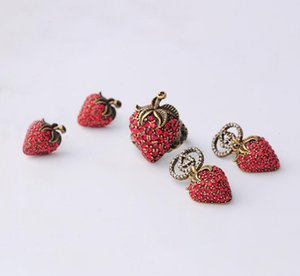Wholesale 2019 new tide earrings female small strawberry letters earrings this year of the earrings Korean net red novelty cute girl jewelry