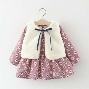 kids designer clothes girls autumn and winter long sleeve flowers dress and vest suits 2 clolors 70-100cm medium and small kids clothing on Sale