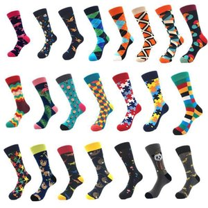 Wholesale Man Sock Long Cotton Colour Diamond 2019 New Fashion Men Sport Couple Luxury Designer Free Size Wearproof Deodorize Breathability