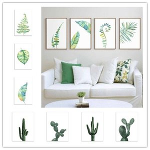 Wholesale Bedroom Decoration DIY Pc Living Cactus Wall Watercolor Abstract Plant Modern Room Art styles Painting sizes Family
