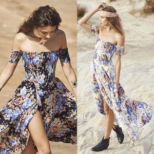 Wholesale Summer White Black Women Long Beach Dress Floral Print Off Shoulder Vintage Beach Dress Party Long Maxi Maxi