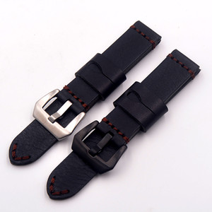Wholesale 20mm mm mm mm Handmade high end vintage Men s Black genuine leather with black buckle watchbands straps Cowhide Wristband