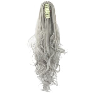 24inch Long Gray Blonde Wavy Clip on Hairpiece Extensions Pony Tail High Temperature Fiber Synthetic Hair Claw Ponytails