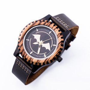 Wholesale New Bamboo Batman Watches Men Leather Quartz Sport Wood Wrist Watch Relogio Masculino