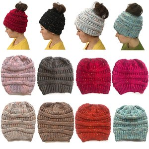 Wholesale Fashion Multicolor Knitted Cap Ponytail Hat Hair Band Girls Women Fall Winter Warm Beanie Hat Festive Birthday Christmas Party Hats WX9