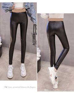 2020 new women's autumn winter letter print bandage elastic waist bodycon tunic PU leather long pants leggings tights