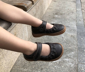 Wholesale kid girl leather shoes Genuine Leather flats children barefoot shoes rubber Honeycomb sole female sneaker brown shoes