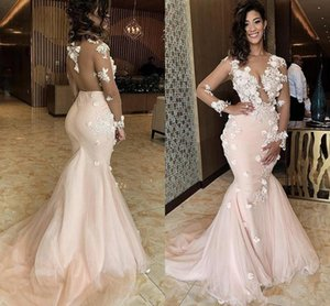 Wholesale Illusion Sexy Mermaid Prom Dresses Sheer Neck Lace 3D Appliques Beaded Long Sleeves Sweep Train Backless Evening Party Wear Pageant Gowns