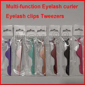 2020 Hot Multi-function Eyelash curler Eyelash clips Tweezers Auxiliary device False eyelashes Eye Lash Clip Beauty Makeup Tool with opp bag