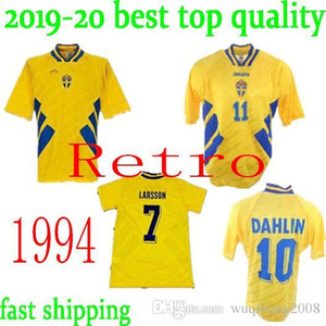 top qulaity 1994 SWEDEN RETRO SOCCER JERSEYS DAHLIN 10 BROLIN 11 LARSSON 7 INGESSON 8 HOME JERSEY FOOTBALL SHIRTS on Sale