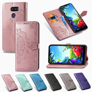 Wholesale mobile phone s resale online - Mobile Phone Casing for LG K40 S PU Leather Cover Embossed Datura Flowers with Wallet Card Slots Cash Holder Hand Strap Model K40S