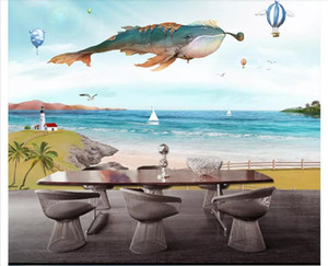 Wholesale 3D wallpaper custom photo silk mural wall paper Hand painted cartoon whale balloon bedroom living room TV hair background mural wall sticker
