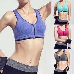 Women Sport Bra Running Front Zipper Moverment Bra Yoga Padded Fitness Tops Tank Cycling Workout Zipper Sport Bra 3 Sizes