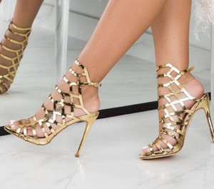 2019 Italy Rome classic Street hollowed metal comfortable high heeled sandals Sexy night club pumps Big size 35-40 shoes women