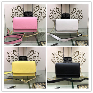 Wholesale Designer classical handbag 2019 new pink yellow white black fashion women's clutch bag real leather totes high quality banquet shoulder bags