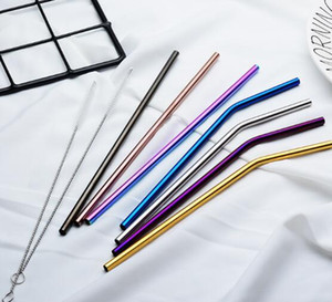 6*215mm 304 Stainless Steel Straw Bent And Straight Reusable Colorful Straw Drinking Straws Metal Straw Cleaner Brush Bar Drinking Tool