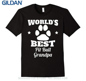 Wholesale Printed T shirt Boys Top Tee Shirt Cotton Men s World s Best Pit Bull Grandpa Dog Lover T shirt