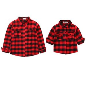 Checked Shirt Mother-child Suit Parent-Child Alphabetic Shirts Flipped Collar Parent-child Shirt Family Matching Outfits 95% Cotton 58 on Sale