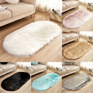 Wholesale 2019 Hot Sell New Faux Fur Fluffy Sheepskin Rug Balcony Oval Rectangle Floor Carpet Bedroom Mat