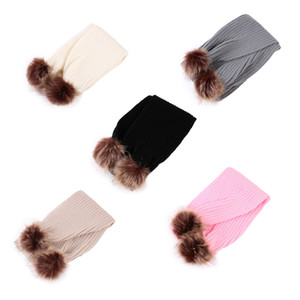 Wholesale Winter Children Neck Scarf Boys Girls Baby Scarf fur ball knitted wool Scarves Kids Girls Warm Scarves LJJA3103