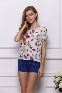 Wholesale 2019 Women s Summer Casual loose and comfortable Bird Heart Geometric Print Short Sleeve Chiffon Top T Shirt Blouses