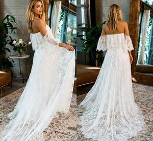 Wholesale Charming Bohemian Lace Wedding Dresses Off the shoulder with Sleeves Court Train Summer Stylish Country Wedding Dress Bridal Gowns Cheap