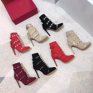 Wholesale Luxury designer sock Studs boots ribbed knit ankle boots cage stud bootie mm for woman leather trimmed stretch High heel shoes Christmas