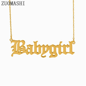 Wholesale 30pcs Babygirl Letter Pendant Necklace Babygirl Old English Font Necklace Baby Girl Gift For Women Girls