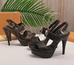 Wholesale Designer women high heels party fashion girls sexy Dance wedding shoes Double straps sandals women shoes size with box L08