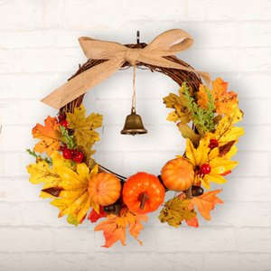 Wholesale Autumn Leaf Pumpkin Wreath with Bell Thanksgiving Halloween Front Door Home Decor DTT88