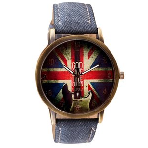 Mens Watches Fashion Creative Union Jack Men Watches Denim Canvas Belt Watch zegarek meski horloges mannen
