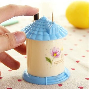 Wholesale NEW Creative Automatic Toothpick Holder Pocket Fashion Small Portable House Shaped Toothpick Box